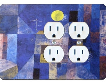 Paul Klee Moonlight Painting Double Duplex Outlet Plate Cover