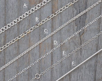 Solid Sterling Silver Chain, Omega Chain, Cable Chain,  Spiga Chain, Figaro Chain, Diamond Cut Belcher Chain, Special Trace Chain