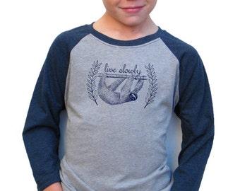 Boys Baseball Tee - Sloth Design -  Available in S, M, L, XL - 5yo, 6yo, 7yo, 8yo, 9yo, 10, yo, 11yo, 12yo