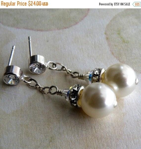 The Wedding Stone For Cape Town Brides Elegant Yet: Wedding Pearl Earrings Dangle Rhinestone Bridesmaid By