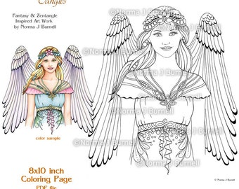 angle fairy tangles adult printable coloring pages by norma j burnell coloring sheets angels to color - Coloring Book Angels