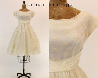 50s Teena Paige Dress XS / 1950s Vintage Floral Flocked Organza Dress / Spirograph Swirl Dress