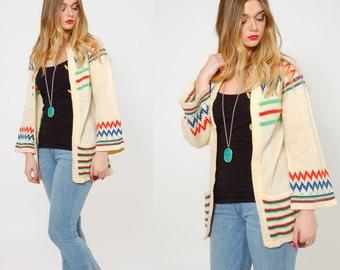 Vintage 70s Boho Sweater BELL SLEEVE Hippie Sweater STRIPE Folk Sweater Toggle Button Cardigan