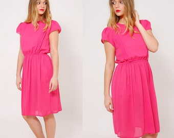 Vintage 80s PINK Secretary Dress SHEER Midi Dress Short Sleeve Spring HIPSTER  Dress
