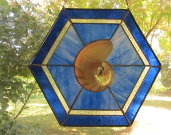Stained Glass with Large Sliced Nautilus Shell in Blue