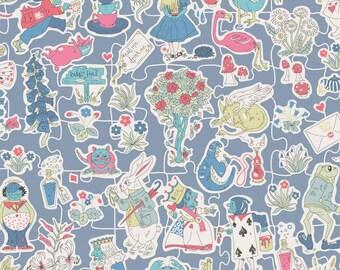 Liberty Tana Lawn Fabric Gallymoggers Reynard E Half Yard Alice in Wonderland Blue