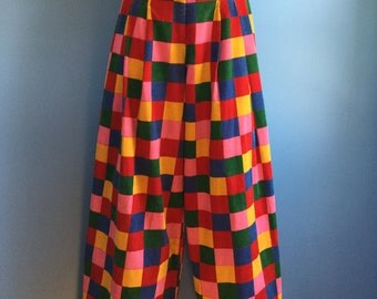 Vintage 1970s Betsey Johnson Alley Cat Colorful Hippie Bell Bottom Corduroy Pants 11/12
