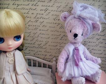 "OOAK Collectible Miniature Artist Bear - ""Earla Mae"" - 5-6"" -  Lilac"