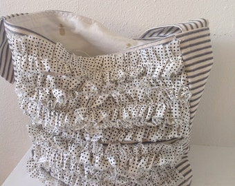 Polka Dot Ruffled Ticking Stripe Tote Bag/ Beach Bag/ Resort Wear/ Pineapple Fabric