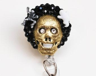 Halloween Glittery Gold Skull ID Badge Reel - Retractable ID Badge Holder - Zipperedheart