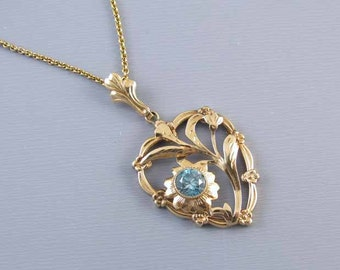 Vintage Retro Moderne heart shaped 10k gold genuine blue zircon pendant necklace signed Esemco Shiman Brothers