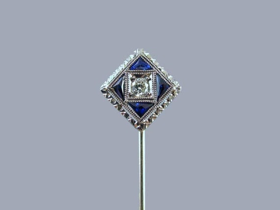 Vintage Art Deco 18k white gold .08 ct diamond and calibre cut triangle blue sapphire stick pin stickpin lapel pin tie pin convert to ring