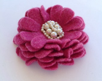 Pink Daisy Wool Flower Brooch Pin with Vintage Earring Center