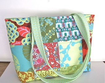 Large Tote Bag, Amy Butler Fabric, Shoulder Bag, Quilted Patchwork, Handmade, Cottage Chic, Quilted, Purse, Bright Fabric, zip pocket