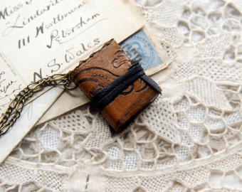The Vagabond - Miniature Wearable Book, Vintage Leather, Tea Stained Pages, OOAK