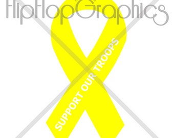 Support Our Troops Ribbon, Vinyl Graphic Sticker