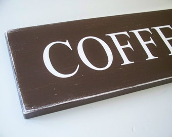 Coffee Bar Sign, Wood Hand Painted Kitchen Wall Decor, 23 x 6 Inches, Brown Sign