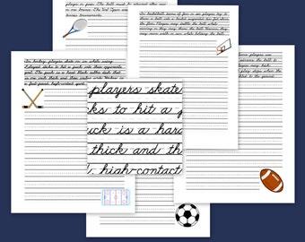 Sports Themed Handwriting Practice- Cursive