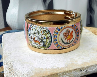 Portugal Antique Coimbra Pottery 6 Dish CUFF BRACELET  -Alcobaca and Coimbra Majolica Ceramic Ceramicas Whimsical