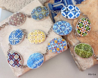 "Portugal 11 Azulejo Tile Replica Necklace 38"" to 40"".  OOAK Majolica Mosaic History"