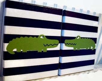 Alligator Nursery Paintings - Alligator Wall Decor - Nursery Art - Baby Boy Bedroom Decor - Navy Green Canvas Painting - Alligator Room