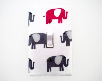 Elephant Light Switch Cover - Grey Pink Nursery Decor - Elephants Switchplate - Elephant Girls Room - Outlet Covers - Safari Nursery