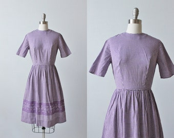 Vintage 1950s Purple Gingham Dress / 50s  Dress / Casual Dress / Short Sleeves / Size Small