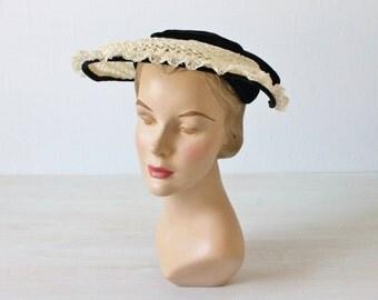 Vintage 1950s Lace and Velvet Bonnet Hat / 1950s  Hat / Sunday Best
