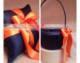 Custom Colors Flower Girl Basket and Ring Bearer Pillow Combo...You Choose the Colors....shown in black/orange