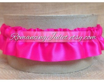Satin Skirted Plain Bridal Garter...Custom Colors Available..shown in hot pink