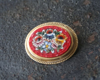 Vintage Micro Mosaic Red Floral Flower Brooch ITALY