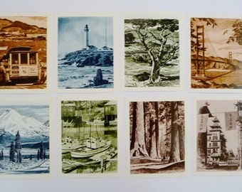 Vintage San Francisco Postcards Pictures by Artist Willard Cox, 8 Assorted - Sepia Tones, Suitable for Framing