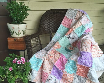 Throw Quilt, Large Size, Blissful Days, peach coral aqua teal and mint, granny chic, comfy cozy handmade home decor, READY TO SHIP, quilts