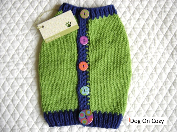 SAVED for MELISSA  Dog Sweater, Hand Knit Pet Sweater, Button Up Back, Size SMALL, Green Vest
