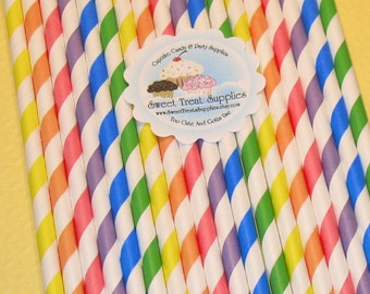 NEW - Rainbow Brites Straw Collection   (Qty 24)  Straws, Retro Straws, Paper Straws, Vintage Inspired Straws, Striped Straws