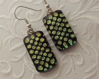 Chartreuse Earrings - Bohemian Earrings - Dichroic Fused Glass Earrings - Glass Earrings - Dichroic Earrings - Dichroic Jewelry X5416