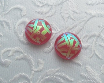 Dichroic Earrings - Stud Earrings - Post Earrings - Fused Glass - Glass Earrings - Small Post - Pink Earrings X1087