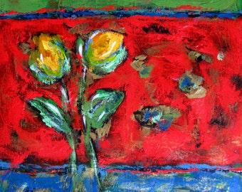 "Tulips Still Life, Red Acrylic Abstract Flower Painting, 20"" x 24"", Original Art on Canvas, Modern wall hanging, gift idea"