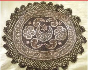 Surprise SALE - Antique Metallic Lace Ottoman Table Cover Doily