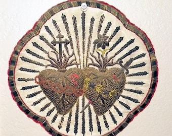 On SALE - RARE Antique Sacred Heart Embroidery Metallic Silk Applique