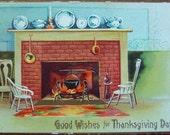 Vintage 1908 Thanksgiving Postcard, Cozy Fireplace, Old dishes, Ellen Clapsaddle Germany, Good Wishes for Thanksgiving Day