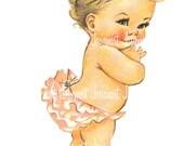 Baby Diaper Image Digital - Vintage Digital Download - Infant in Diaper Image -  Vintage Image Large PNG - Retro Children - Cute Kids