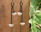 SPECIAL CLEARANCE - Button Jewelry - Vintage Triple White Petite Porcelain Button Dangle Earrings on Brass Kidney Wires