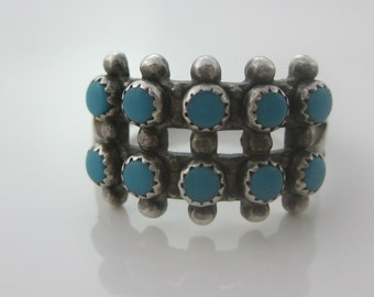 Size 9 1/4 - Vintage Row Petite Point Turquoise Sterling Silver Ring