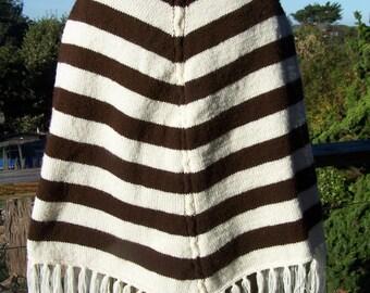 Chevron Poncho, Stripe Poncho, knit poncho, knit Cape, brown & ivory Serape, size M
