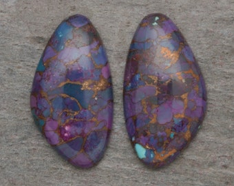 ONE PAIR 13mm x 24mm Beautiful Purple Mojave Turquoise Freeform Triangular Shaped Cabochon Pair Copper Blue Green