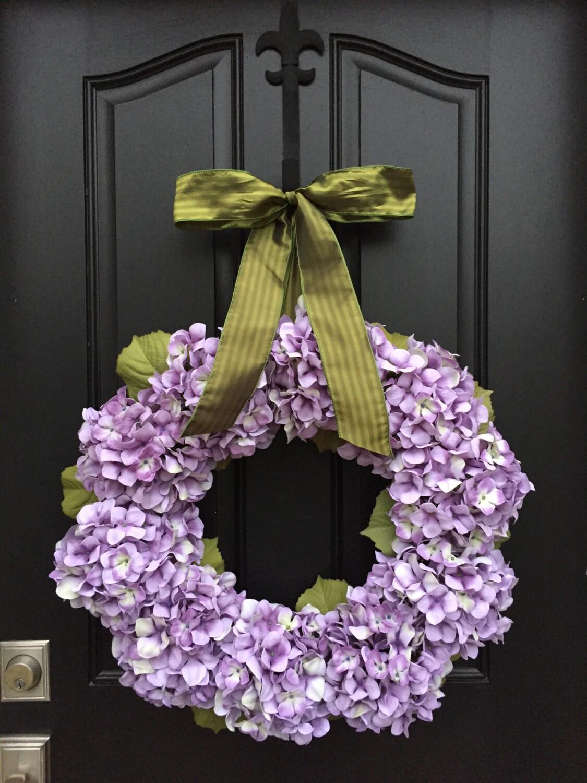 spring wreaths front door wreaths spring hydrangea wreath. Black Bedroom Furniture Sets. Home Design Ideas