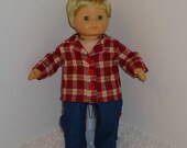 Cargo Jeans and Flannel Shirt, Fits 15 Inch American Girl Bitty Boy Dolls