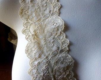 2 yds. Golden Champagne Stretch Lace for Lingerie, Headbands, Garters  STR 1024gc