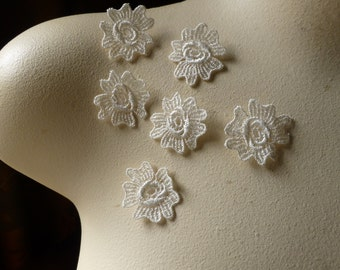 6 Lace Applique Flowers in IVORY for Bridal, Garters, Jewelry, Costumes, Crafts